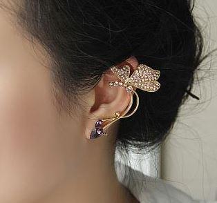 Butterfly and Rhinestone Ear Cuff