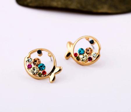 Colorful Crystal Fish Fashion Earrings