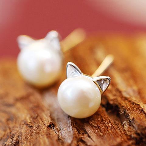Cute Kitty Pearl Fashion Earrings