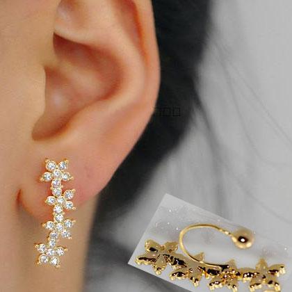 Flower String Rhinestone Ear Clips