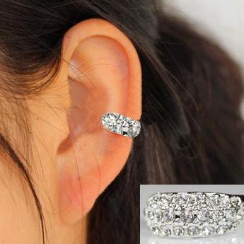 Full Rhinestone Ring Ear Cuff(Single, No Piercing)