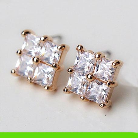 Imitation Diamond Grid Rhinestone Earrings