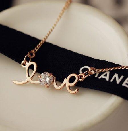 Love letter Rhinestone Necklace