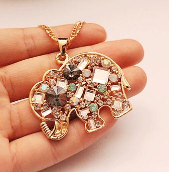 Crystal Elephant Fashion Necklace