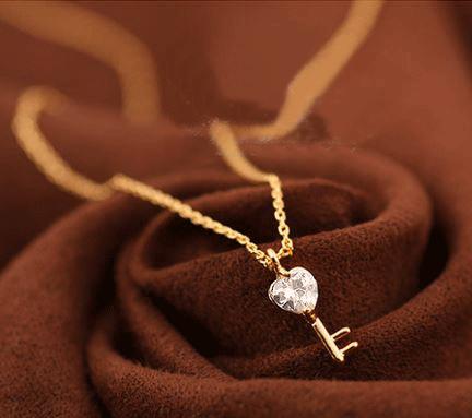 Key to My Heart Rhinestone Fashion Necklace