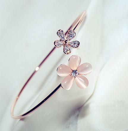 Opal Flowers Rhinestone Cuff (Adjustable)