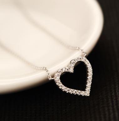 Open Heart Rhinestone Necklace
