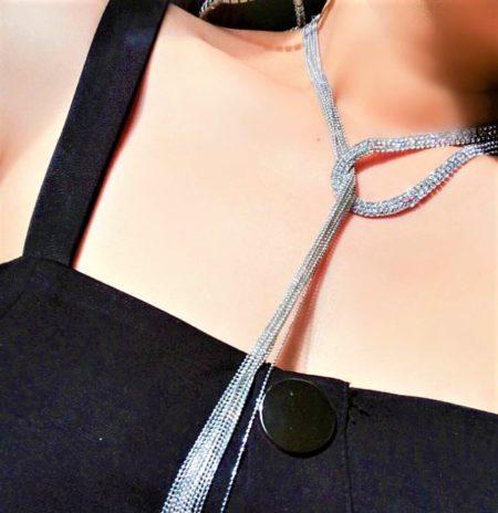 Glamorous Full Rhinestone Scarf Necklace
